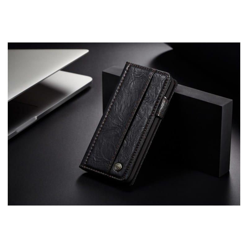 Кожаный чехол-кошелек CaseMe i8 для iPhone X: слоты для карт и денег, PU-кожа Crazy Horse, бизнес-стиль 215181