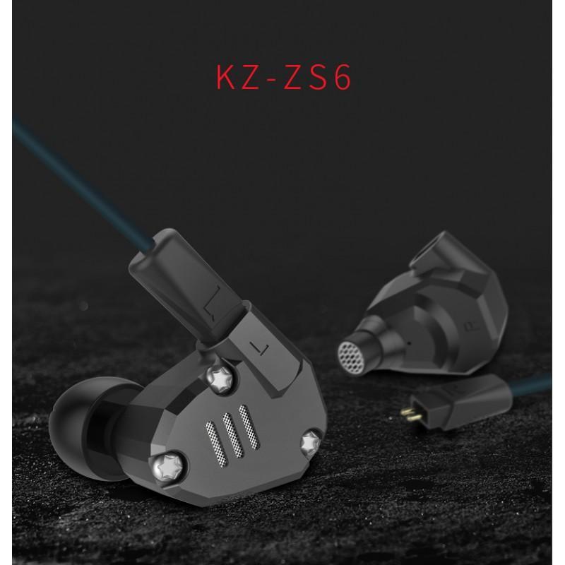 Гибридные внутриканальные наушники KZ (Knowledge Zenith) ZS6 с гарнитурой и съемным кабелем 1,2 м: 15 Ом, 105дБ, 7-40000Гц 215253