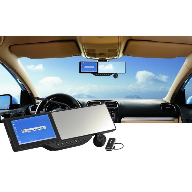 Автомобильное зеркало заднего вида с  сенсорным экраном, GPS-навигатором и DVR 720p + гарнитура Bluetooth + MicroSD 4 Гб