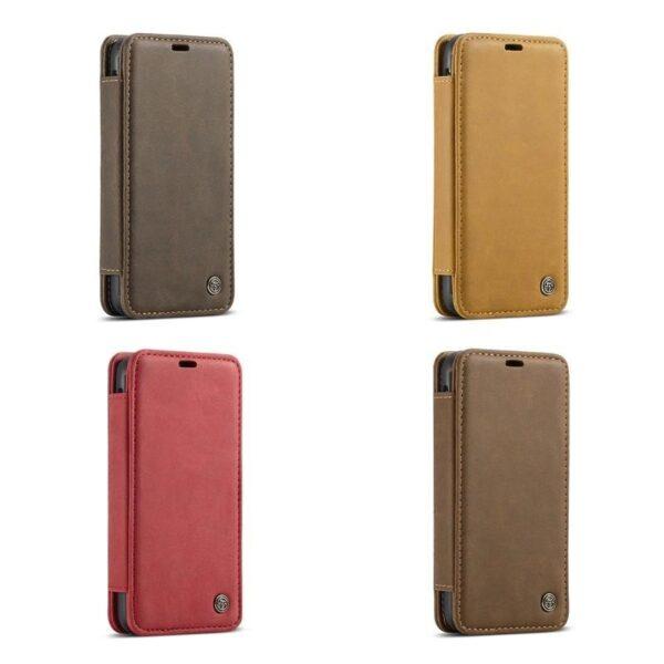 39743 - Кожаный чехол CaseMe H1 с кольцом-держателем и слотами для карт для iPhone X + TPU съемная задняя крышка-бампер