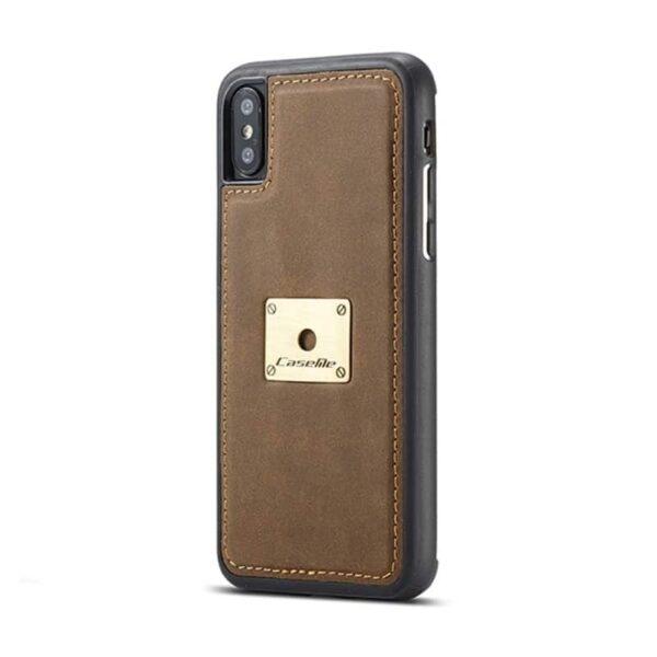 39746 - Кожаный чехол CaseMe H1 с кольцом-держателем и слотами для карт для iPhone X + TPU съемная задняя крышка-бампер