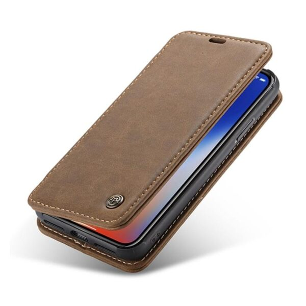 39747 - Кожаный чехол CaseMe H1 с кольцом-держателем и слотами для карт для iPhone X + TPU съемная задняя крышка-бампер