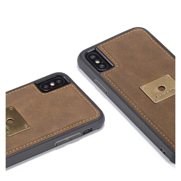 39748 - Кожаный чехол CaseMe H1 с кольцом-держателем и слотами для карт для iPhone X + TPU съемная задняя крышка-бампер