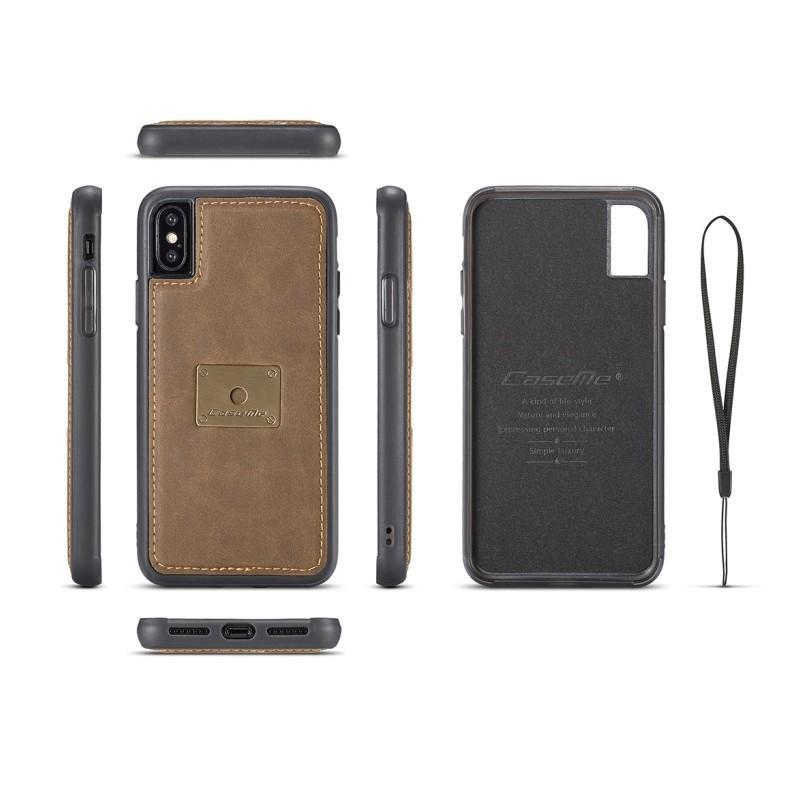 Кожаный чехол CaseMe H1 с кольцом-держателем и слотами для карт для iPhone X + TPU съемная задняя крышка-бампер 215276