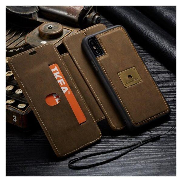 39752 - Кожаный чехол CaseMe H1 с кольцом-держателем и слотами для карт для iPhone X + TPU съемная задняя крышка-бампер