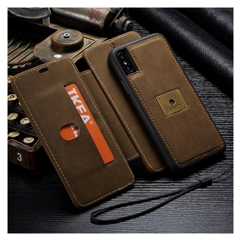 Кожаный чехол CaseMe H1 с кольцом-держателем и слотами для карт для iPhone X + TPU съемная задняя крышка-бампер 215277