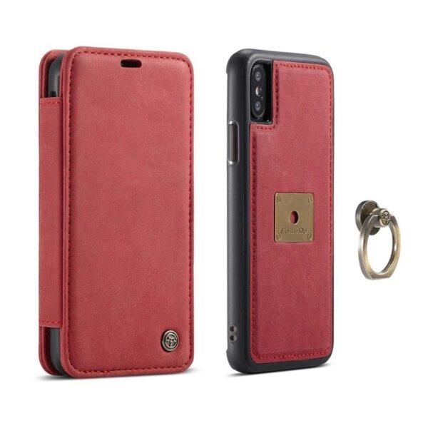 39754 - Кожаный чехол CaseMe H1 с кольцом-держателем и слотами для карт для iPhone X + TPU съемная задняя крышка-бампер