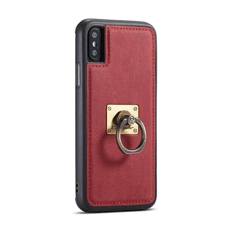 Кожаный чехол CaseMe H1 с кольцом-держателем и слотами для карт для iPhone X + TPU съемная задняя крышка-бампер 215280