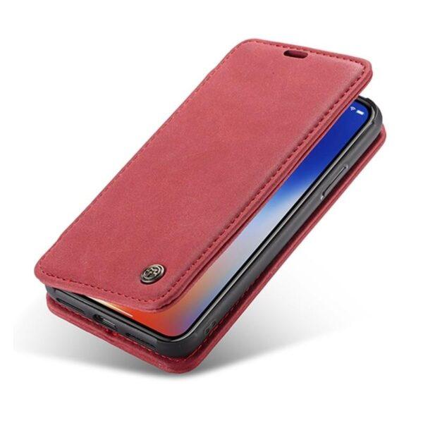 39757 - Кожаный чехол CaseMe H1 с кольцом-держателем и слотами для карт для iPhone X + TPU съемная задняя крышка-бампер