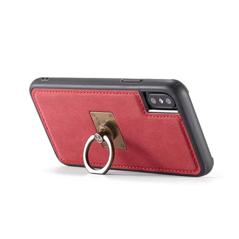 Кожаный чехол CaseMe H1 с кольцом-держателем и слотами для карт для iPhone X + TPU съемная задняя крышка-бампер 215282