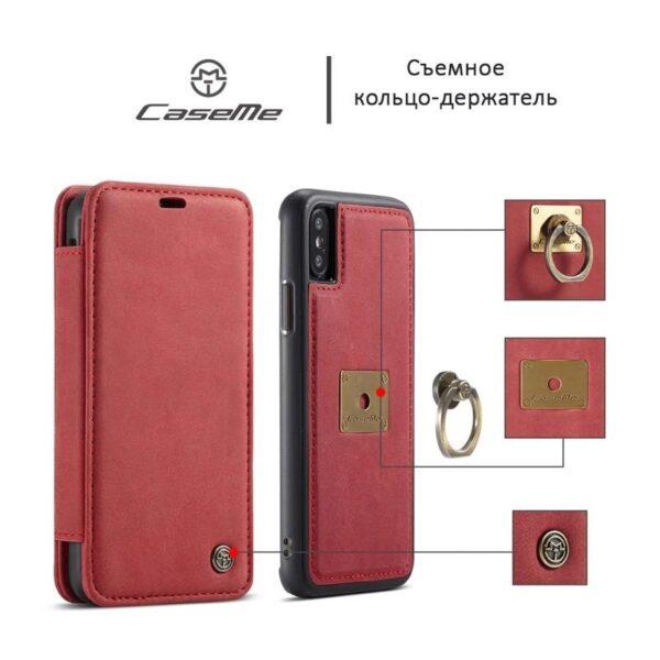 39760 - Кожаный чехол CaseMe H1 с кольцом-держателем и слотами для карт для iPhone X + TPU съемная задняя крышка-бампер