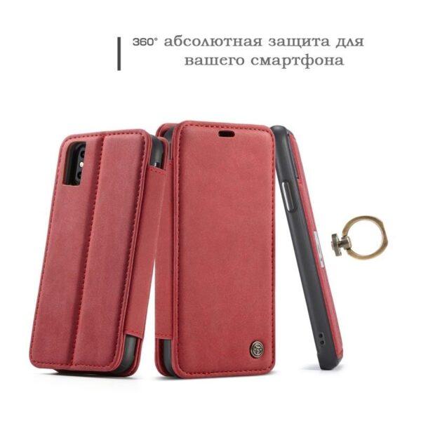 39761 - Кожаный чехол CaseMe H1 с кольцом-держателем и слотами для карт для iPhone X + TPU съемная задняя крышка-бампер