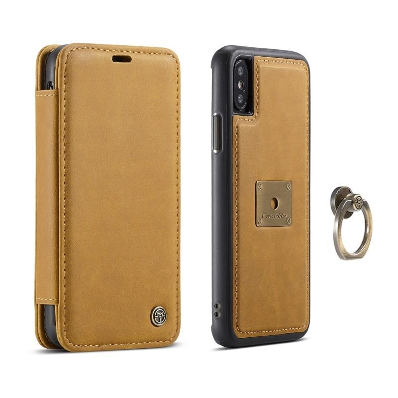 Кожаный чехол CaseMe H1 с кольцом-держателем и слотами для карт для iPhone X + TPU съемная задняя крышка-бампер 215287