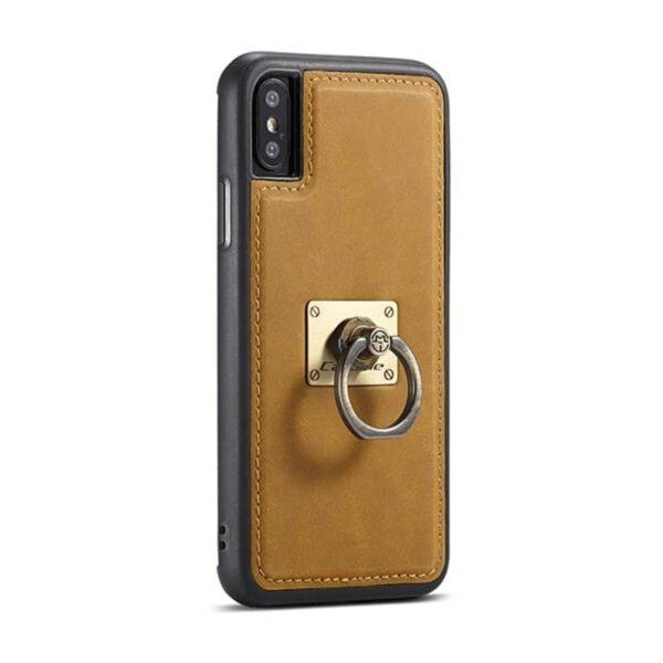 39766 - Кожаный чехол CaseMe H1 с кольцом-держателем и слотами для карт для iPhone X + TPU съемная задняя крышка-бампер