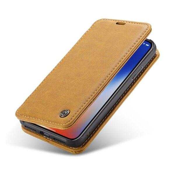 39767 - Кожаный чехол CaseMe H1 с кольцом-держателем и слотами для карт для iPhone X + TPU съемная задняя крышка-бампер