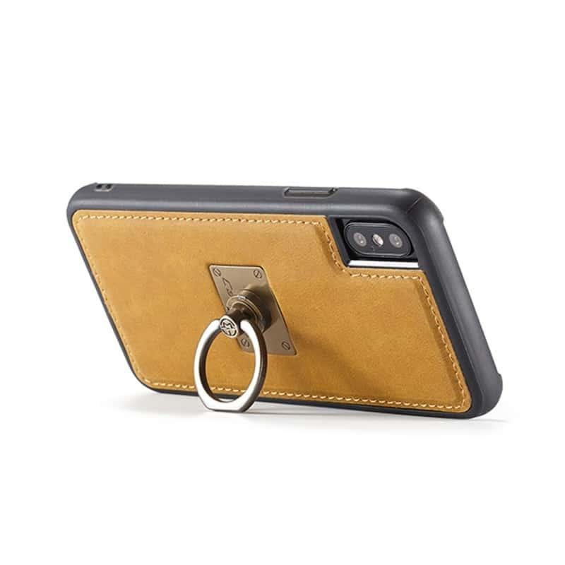 Кожаный чехол CaseMe H1 с кольцом-держателем и слотами для карт для iPhone X + TPU съемная задняя крышка-бампер 215291
