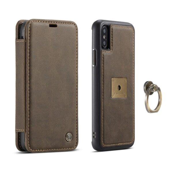 39772 - Кожаный чехол CaseMe H1 с кольцом-держателем и слотами для карт для iPhone X + TPU съемная задняя крышка-бампер