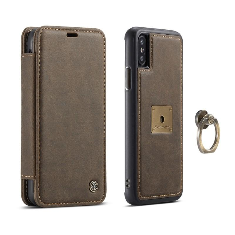 Кожаный чехол CaseMe H1 с кольцом-держателем и слотами для карт для iPhone X + TPU съемная задняя крышка-бампер 215295