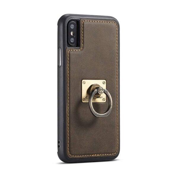 39774 - Кожаный чехол CaseMe H1 с кольцом-держателем и слотами для карт для iPhone X + TPU съемная задняя крышка-бампер