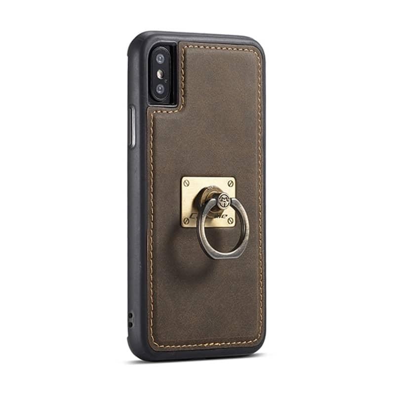 Кожаный чехол CaseMe H1 с кольцом-держателем и слотами для карт для iPhone X + TPU съемная задняя крышка-бампер 215297