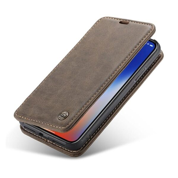 39775 - Кожаный чехол CaseMe H1 с кольцом-держателем и слотами для карт для iPhone X + TPU съемная задняя крышка-бампер