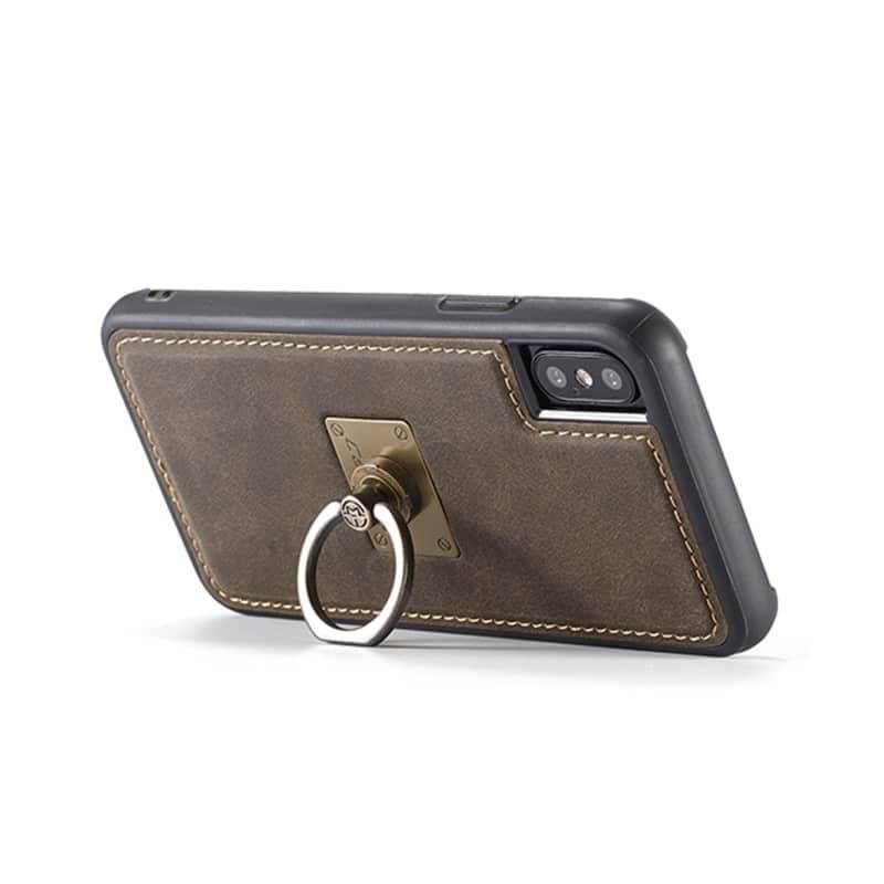 Кожаный чехол CaseMe H1 с кольцом-держателем и слотами для карт для iPhone X + TPU съемная задняя крышка-бампер 215299