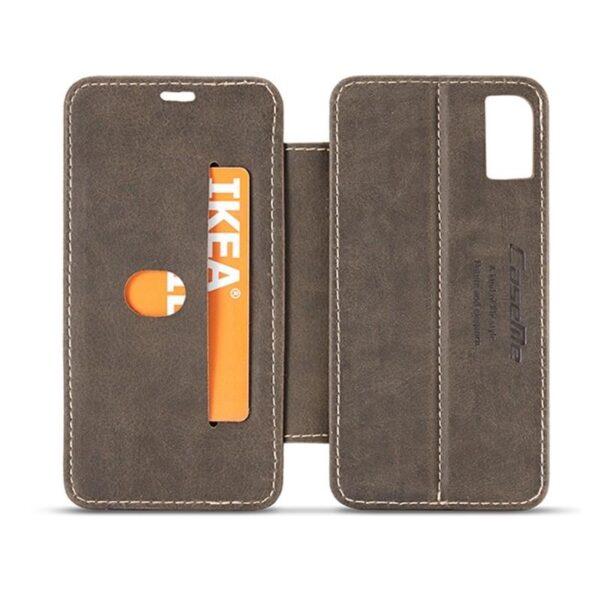 39777 - Кожаный чехол CaseMe H1 с кольцом-держателем и слотами для карт для iPhone X + TPU съемная задняя крышка-бампер