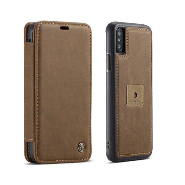 39779 - Кожаный чехол CaseMe H1 с кольцом-держателем и слотами для карт для Samsung Galaxy S8 + TPU задняя крышка-бампер + ремешок
