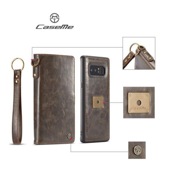 39865 - Кожаный чехол-кошелек CaseMe для Samsung Galaxy Note 8 + TPU задняя крышка-бампер + ремешок
