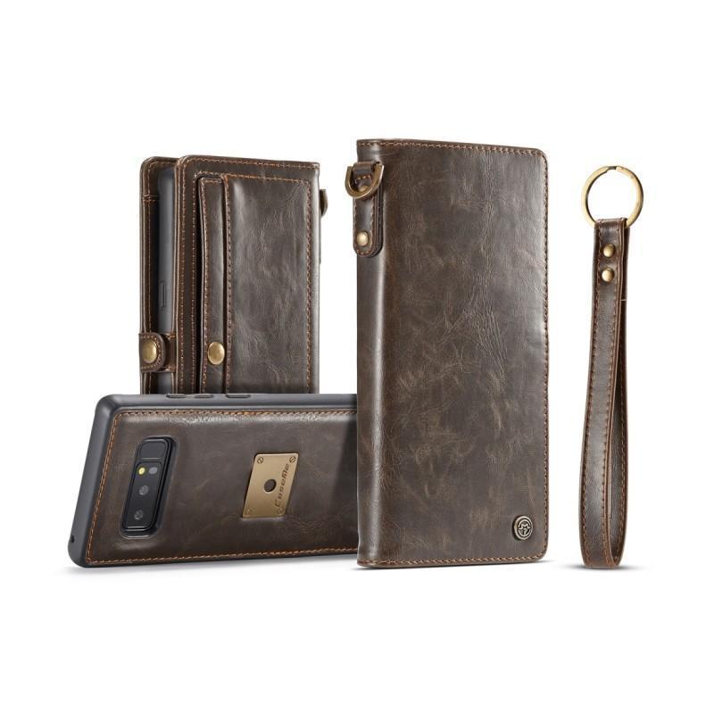 Кожаный чехол-кошелек CaseMe для iPhone X + TPU задняя крышка-бампер + ремешок - Коричневый