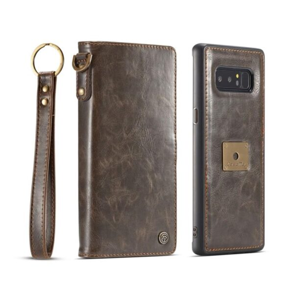 39888 - Кожаный чехол-кошелек CaseMe для iPhone X + TPU задняя крышка-бампер + ремешок