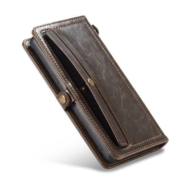 39890 - Кожаный чехол-кошелек CaseMe для iPhone X + TPU задняя крышка-бампер + ремешок
