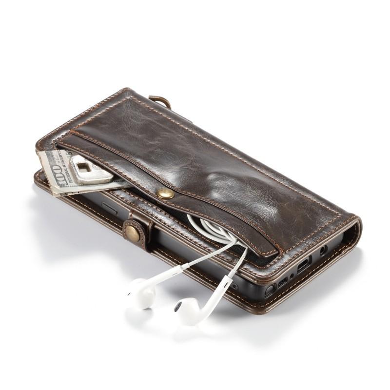 Кожаный чехол-кошелек CaseMe для iPhone X + TPU задняя крышка-бампер + ремешок 215409