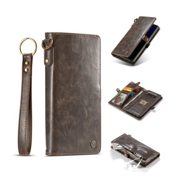 39892 - Кожаный чехол-кошелек CaseMe для iPhone X + TPU задняя крышка-бампер + ремешок