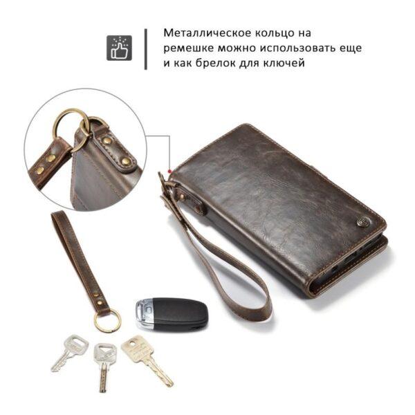 39896 - Кожаный чехол-кошелек CaseMe для iPhone X + TPU задняя крышка-бампер + ремешок
