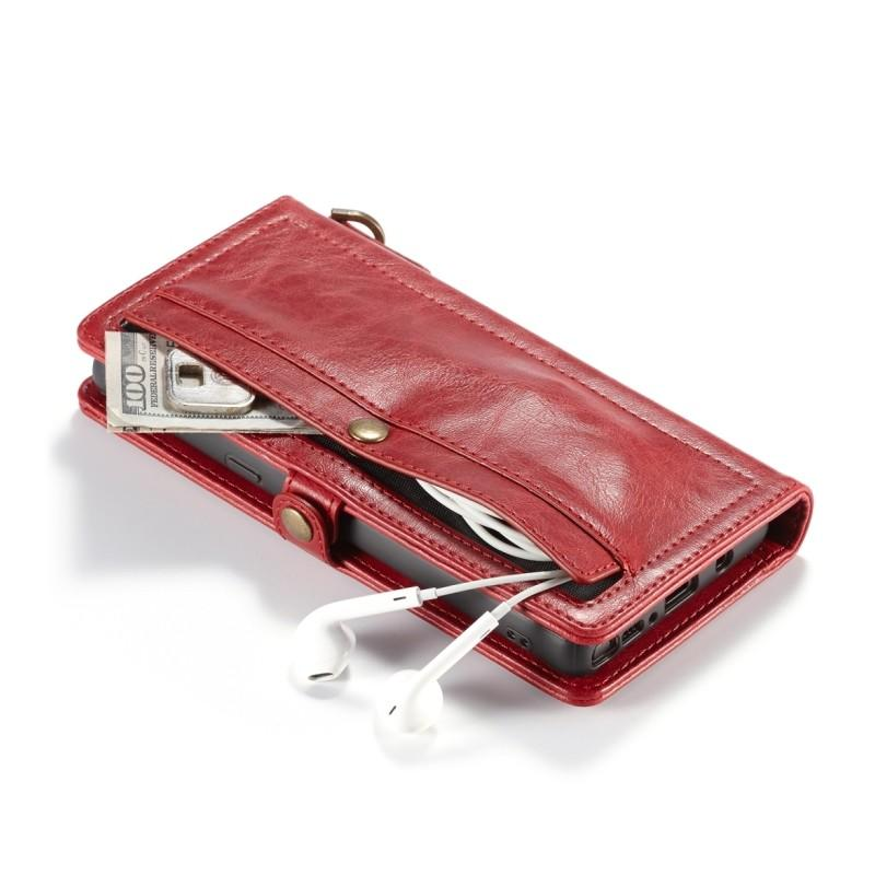 Кожаный чехол-кошелек CaseMe для iPhone X + TPU задняя крышка-бампер + ремешок 215428