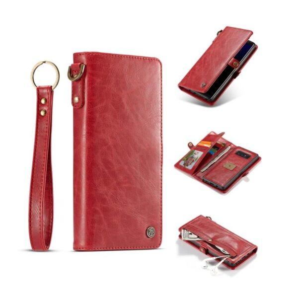 39913 - Кожаный чехол-кошелек CaseMe для iPhone X + TPU задняя крышка-бампер + ремешок