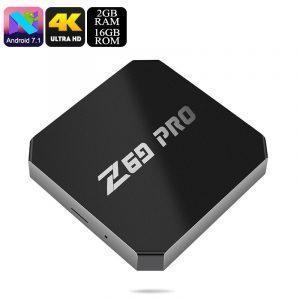 ТВ-приставка Z69 Max Pro 2Гб/16 Гб: четырехъядерный процессор, Android 7.1, 4K, H.265, Wi-Fi, Miracast, KODI, Airplay