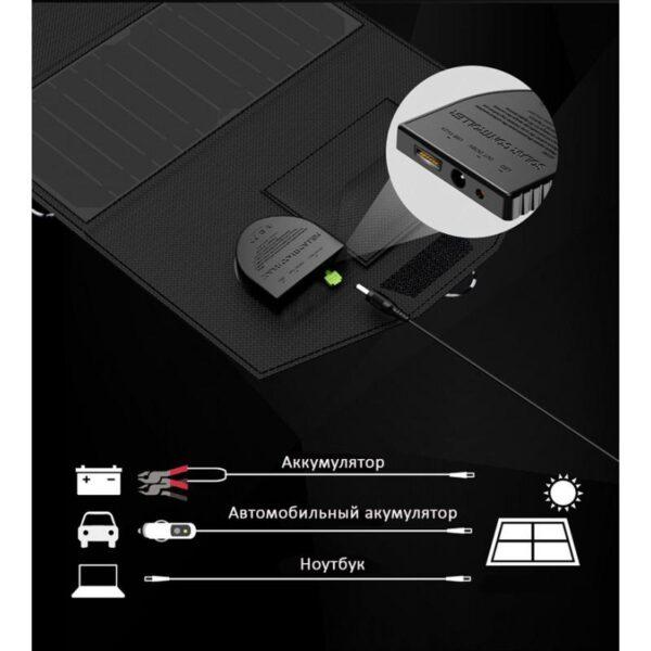 40069 - Портативное солнечное зарядное Allpowers 21 Вт: 1 USB-порт 5В/2,4 А, 1 порт DC 18В/1А для зарядки ноутбука