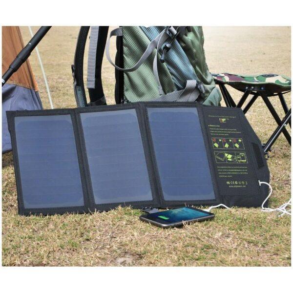40070 - Портативное солнечное зарядное Allpowers 21 Вт: 1 USB-порт 5В/2,4 А, 1 порт DC 18В/1А для зарядки ноутбука