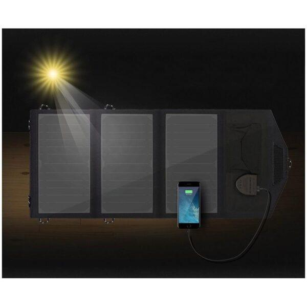 40073 - Портативное солнечное зарядное Allpowers 21 Вт: 1 USB-порт 5В/2,4 А, 1 порт DC 18В/1А для зарядки ноутбука