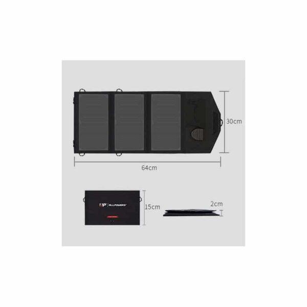 40075 - Портативное солнечное зарядное Allpowers 21 Вт: 1 USB-порт 5В/2,4 А, 1 порт DC 18В/1А для зарядки ноутбука