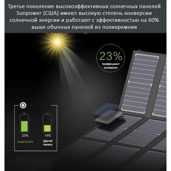 40076 - Портативное солнечное зарядное Allpowers 21 Вт: 1 USB-порт 5В/2,4 А, 1 порт DC 18В/1А для зарядки ноутбука
