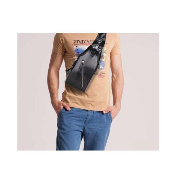 40098 - Стильная мужская сумка-рюкзак Locoer Backpack: PU кожа, 3 цвета, регулируемый ремень, 3 варианта ношения
