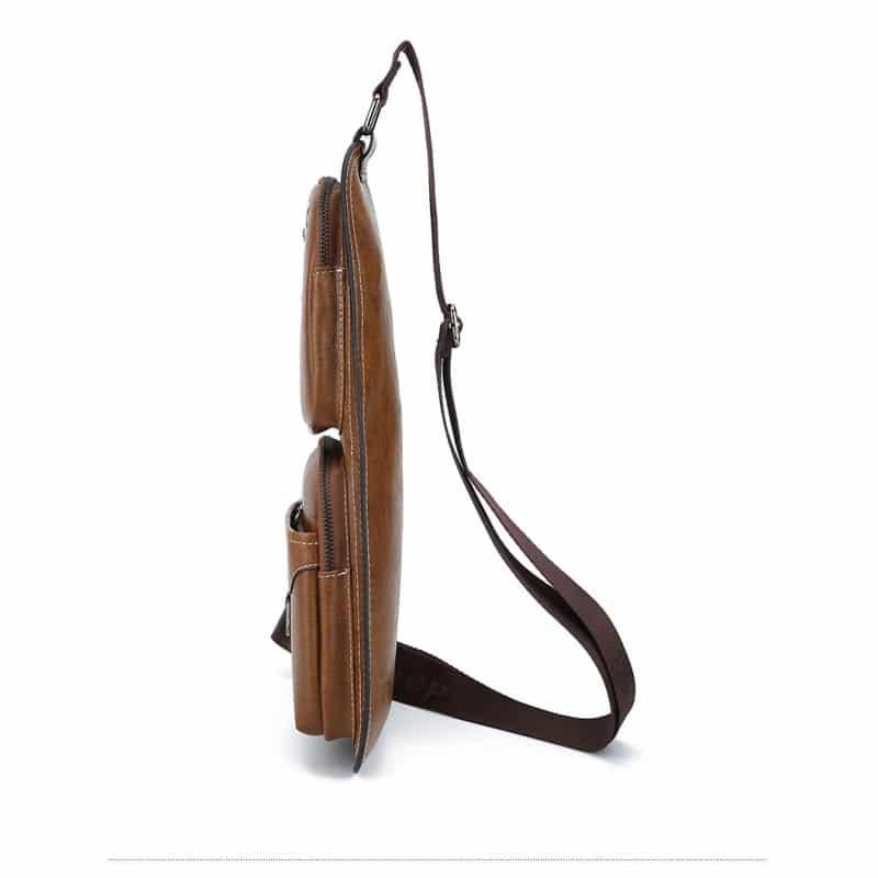 Мужская сумка-рюкзак FlyBag: PU кожа, регулируемый ремень, много карманов - Мокко