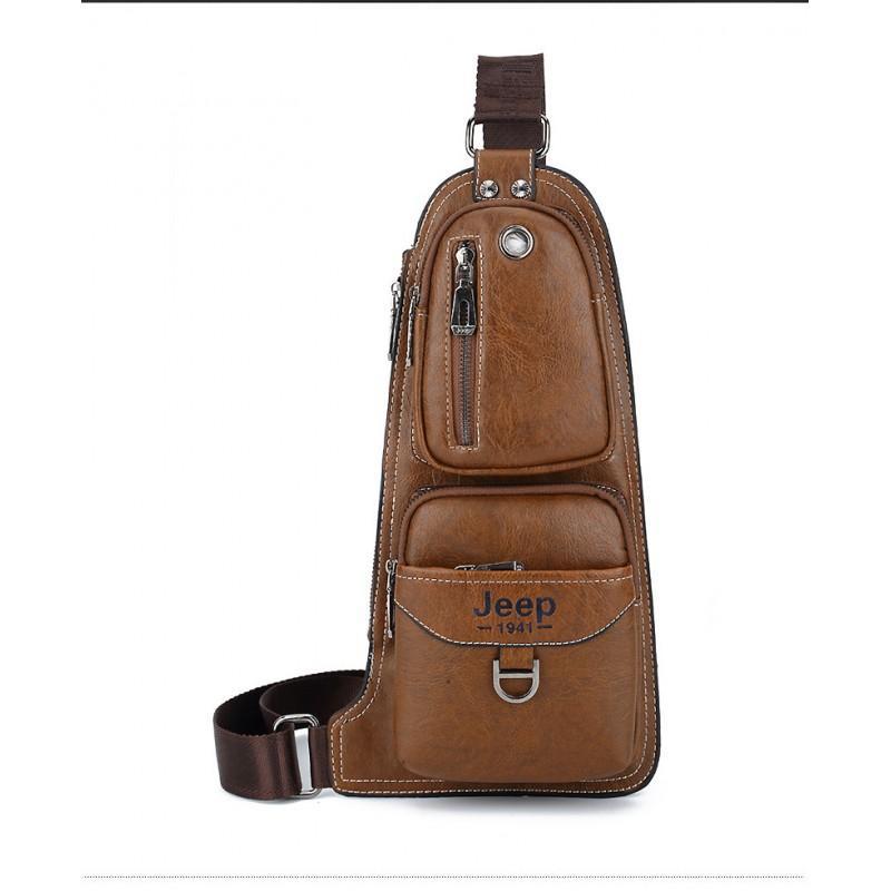 40123 - Мужская сумка-рюкзак FlyBag: PU кожа, регулируемый ремень, много карманов