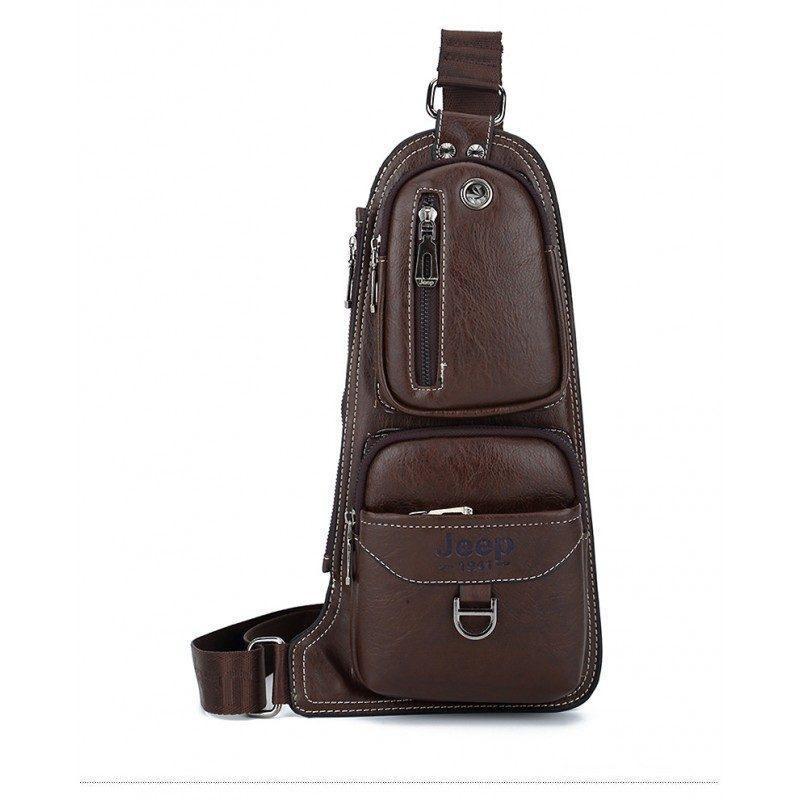 Мужская сумка-рюкзак FlyBag: PU кожа, регулируемый ремень, много карманов