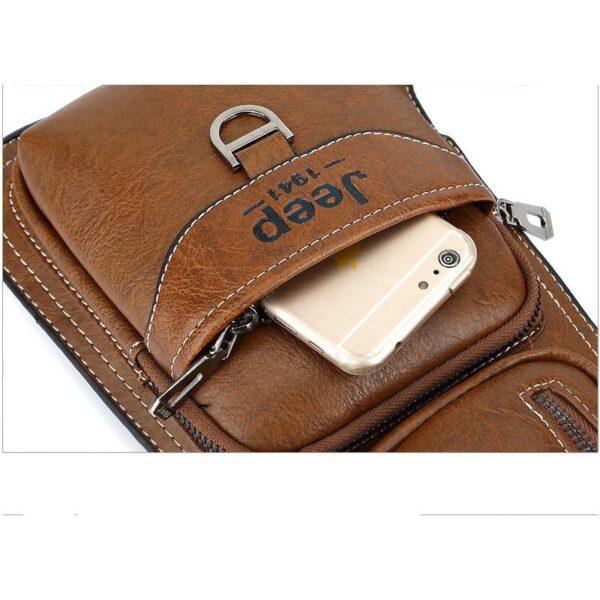 40131 - Мужская сумка-рюкзак FlyBag: PU кожа, регулируемый ремень, много карманов