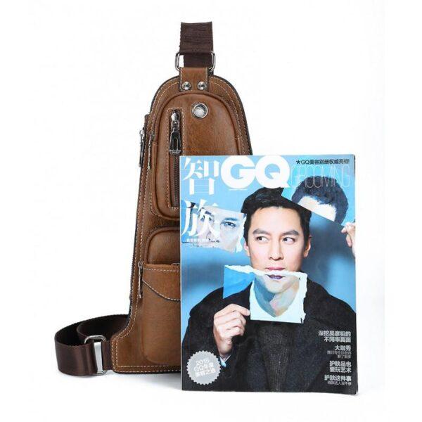 40136 - Мужская сумка-рюкзак FlyBag: PU кожа, регулируемый ремень, много карманов