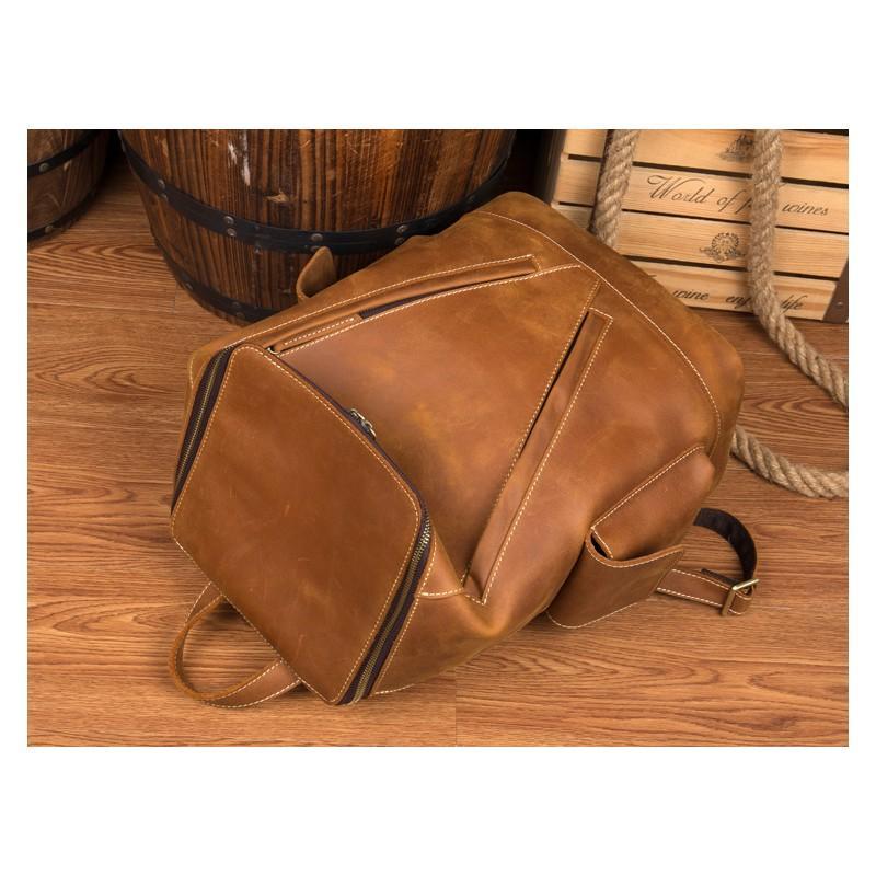 Вместительный городской рюкзак Coral Royal из натуральной кожи в стиле Craze Horse: кожа первый слой, унисекс 215644